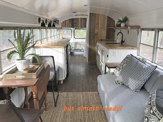 'Skoolie'- The Emerald Gypsy - school bus conversion with wooded privacy