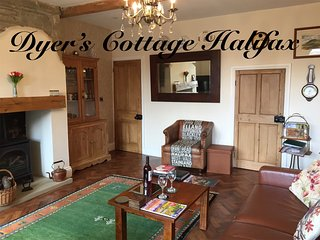 Dyer's Cottage is a beautiful 17c cottage near Halifax retaining many character features like beams.