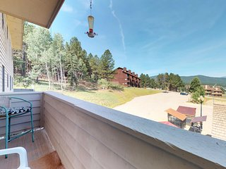 Enjoy mountain view, jet tub, fireplace from condo- ski access!