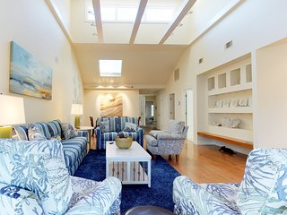 Cozy Hilton Head townhome with shared pools within a short distance of beaches.