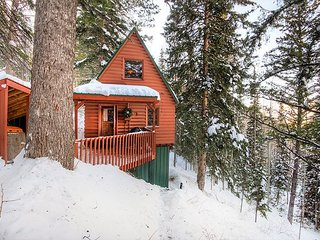 Walk to Eagle Express Lift! The Nellie Log Cabin w/ Mountain Views & Fire Pit