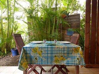 Soleil et cocotier Bungalow bleu