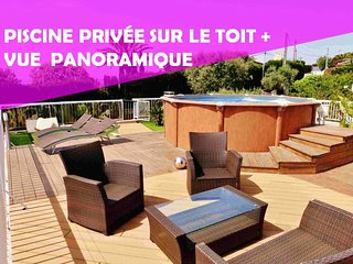 VILLA PLAIN-PIED proche Nice - Toit Terrasse Panoramique - Piscine