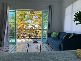 ★ Ocean Loft | Eco-Friendly Studio | Ocean View Balcony | Steps from the Beach ★