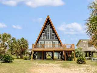 Unique, beachside A-frame w/porches, fantastic views & ocean access