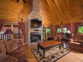 Spacious, dog-friendly cabin w/ jetted tub, hot tub, shared pool, & mtn views