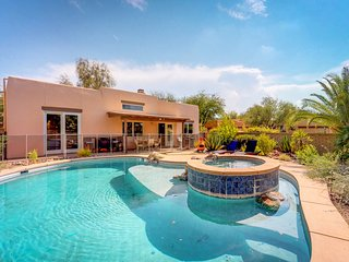 NEW LISTING! Desert oasis w/updated amenities, furnished patio, pool & hot tub