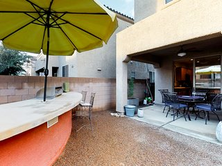 NEW LISTING! Modern home w/ fabulous patio, firepit & shared pool - 2 dogs OK!