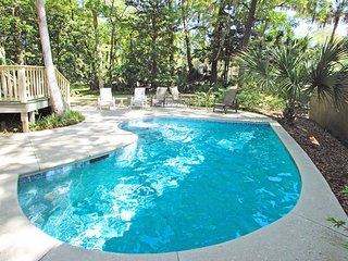 Dog-friendly house w/ private pool, game room, golf views & more - walk to beach