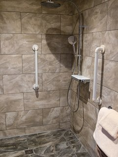 The wet room is perfect for wheelchair users.
