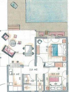 Plan de la villa 2 chambres avec sa piscine privée