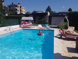 Cozy villa in the center of Caslano with Parking, Internet, Pool, Garden
