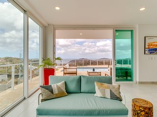 Hilltop home with pool, terrace & incredible ocean views - walk to beach/town!