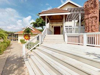 Expansive beachfront getaway w/private pool, ocean view, & direct beach access