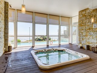 Waterfront getaway with ocean views, shared pool & hot tub!