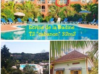 T2 'Cabanons', Ecrins de la Badine, piscine/plage à pieds, face à Porquerolles
