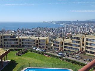 Apartamento en Vina del Mar, Hermosa vista panoramica, Full amoblado.