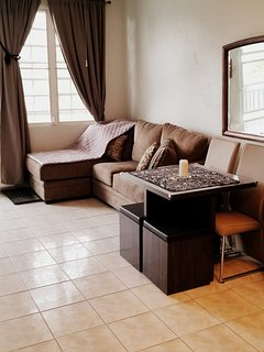 Super comfortable chaise with full dining area