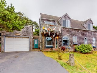 Whimsical oceanview & dog-friendly home w/ private hot tub & close beach access!
