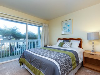 Lower-level, dog-friendly studio with ocean views - walk to the beach!