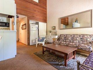 Cute condo with a balcony, easy lake access, and a shared pool, hot tub & sauna!