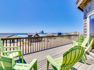 Dog-friendly house w/ ocean views, hot tub, arcade machine, & easy beach access!
