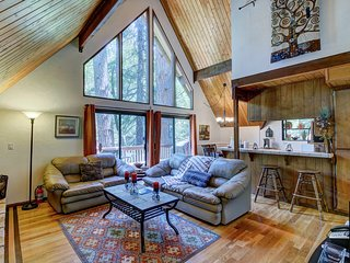 A-frame with furnished deck plus game room - close to skiing, water, and town