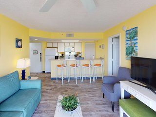 Bright and sunny condo with patio, shared pool, and hot tub at Sunrise Suites