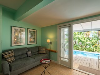 Recently renovated home w/ shared pool, furnished patio area - in town, dogs ok