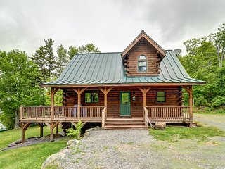 Spacious, lakefront cabin w/covered porch, views, & firepit on the shore - dogs