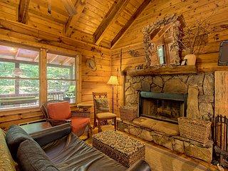 Dog-friendly cabin in woods w/shared pool, hot tub & tennis