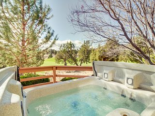 Dog-friendly golf course view home w/private hot tub, shared pool