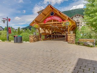 Village condo w/sun room, ski view, fireplace & shared hot tub - steps to lifts!