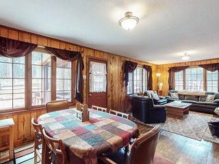Two-cabin property w/ spacious deck, fireplace & updated bathroom - dogs OK!