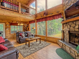 Dog-friendly cabin w/great mountain view, hot tub, air hockey, outdoor waterfall
