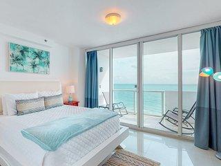 Modern beachfront condo w/ ocean view & resort amenities like a shared pool!