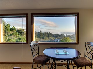 Dog-friendly oceanview home with a private hot tub, deck, and Ping-Pong!
