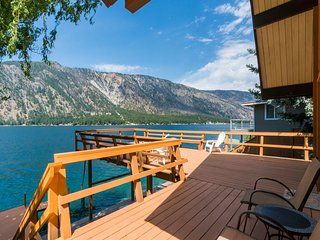 Lakefront home w/ 140 feet of waterfront, 800 sf deck, near town!