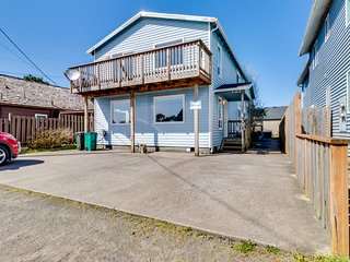 Dog-friendly, oceanview duplex w/ a private hot tub - steps from the beach!
