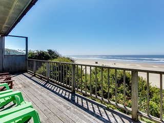 Dog-friendly, oceanfront home w/ beach views & private hot tub!