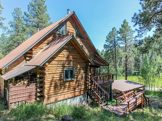 Secluded, rustic log house on three acres - dog-friendly & close to town!