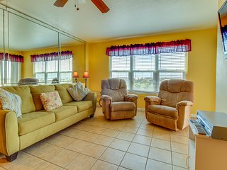 Dog-friendly, waterfront condo near the beach w/ a shared pool, hot tub, & grill