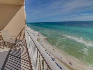 Beachfront condo with shared hot tub, sauna, and pools offers stunning views!