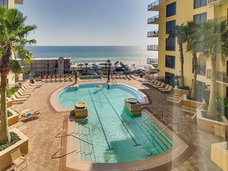 Enjoy ocean views & amenities like shared pool & hot tubs, private beach access!