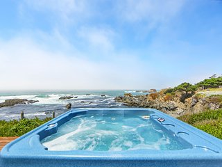 Oceanfront condo w/ private hot tub, furnished deck & views - walk to beach