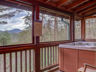 NEW LISTING! Dog- friendly cabin w/ hot tub, firepit, fireplace & mountain view!