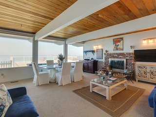 Bay-front rental w/ views & hot tub, across street from beach