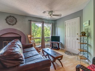 Dog-friendly, waterfront condo with furnished patio & fireplace - right in town