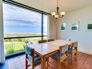 First floor oceanfront escape w/shared pool, steps from beach! Family-friendly!