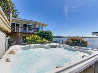 Premier lakefront home w/ private hot tub, gorgeous views & dock - dogs OK!
